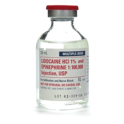 Lidocaine 1%, with Epinephrine, 10mg/mL, MDV, 30mL Vial