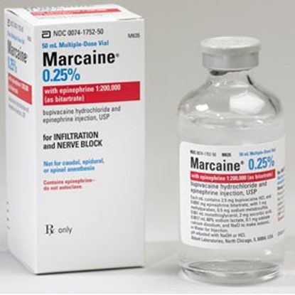 Marcaine® (Bupivacaine HCl), 0.25%, with Epinephrine, 2.5mg/mL, MDV, 50mL Vial