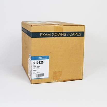 "Gown, Exam 30"" x 42"", 3-Ply T/P/T, White, Disposable, 50/Case"