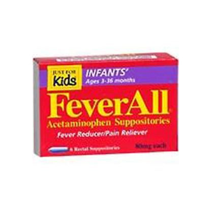Acetaminophen,  80mg, Feverall®,Suppositories, 6/Box