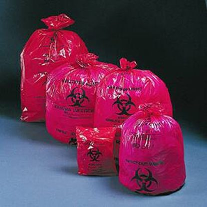 "Bags, Infectious Biohazard Waste,  7-10 Gallon, Red, 24 x 24"", 1,000/Case"
