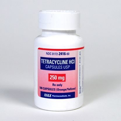Tetracycline, 250mg,  100 Capsules/Bottle