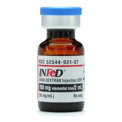 Infed®, (Iron Dextran IV/IM), 50mg/mL, SDV, 2mL/Vial