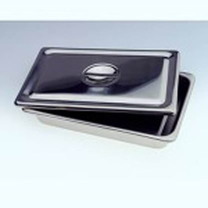"Tray, Instrument with Lid, 8"" x 3"" x 1 1/2"", Stainless Steel, Each"