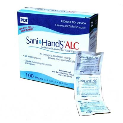 "Wipes, Hand Antimicrobial, 8""x5.3"", Sani-Hands®, Individual Package, 100/Box"
