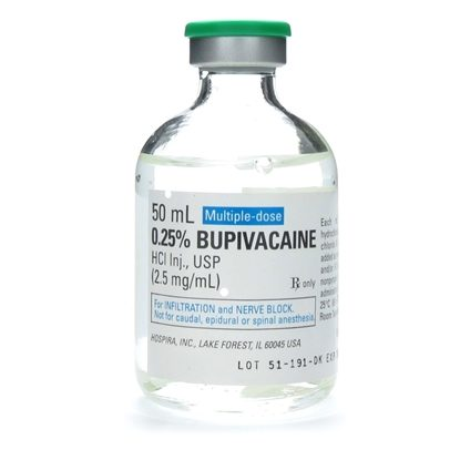 Bupivacaine, 0.25%, 2.5mg/mL, MDV, 50mL/Vial