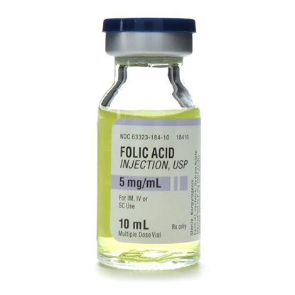 Folic Acid, 5mg/mL, MDV, 10mL Vial
