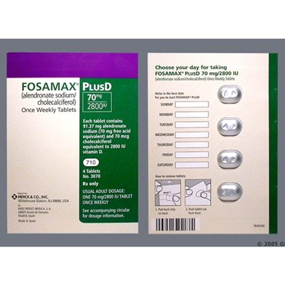 Fosamax + D™, (Alendronate Sodium/Cholecalciferol), 70mg, Unit-Dose, 4 Tablets/Bottle