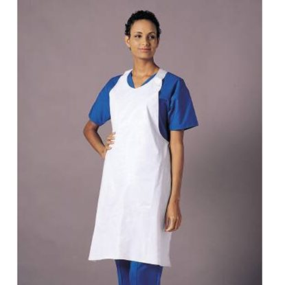 "Apron, Disposable, White, Polyethylene, 28""x46"", 100/Case"