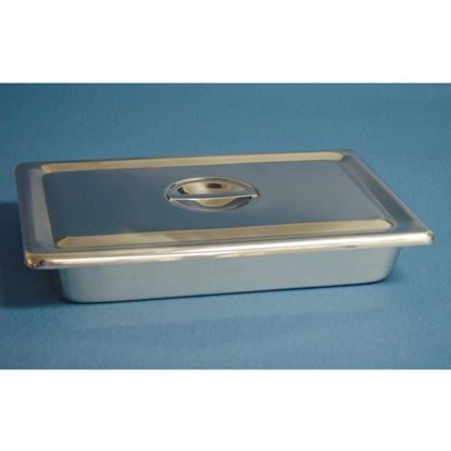 "Tray, Instrument Stainless Steel, w/recessed lid 12 1/8"" x 7 5/8"" x 2 1/8"",  Each"