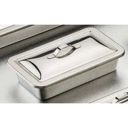 "Tray, Instrument Stainless Steel, 8"" x 5"" x 2"", with Strap Handle Lid, Each"