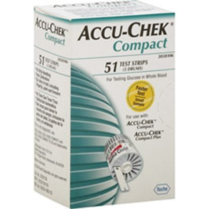 Blood Test Strips, Accu-Chek® Compact, 17 strips/Drum   3 Drums/Box