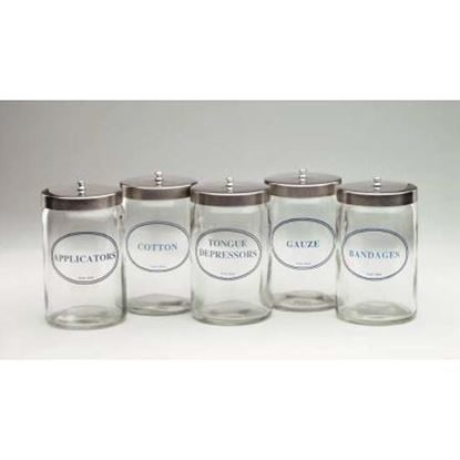 "Jar, Sundry, Glass with Stainless Steel Lid, 7"" x 4 1/4"", Without Graduations, Labeled, Medi-Pak™, 5/Set"
