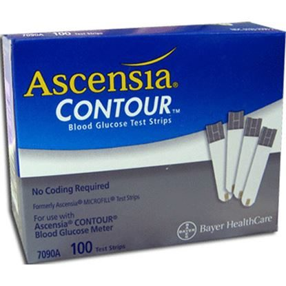 Blood Test, BAYER Contour®, Glucose Test Strips, 100/Box