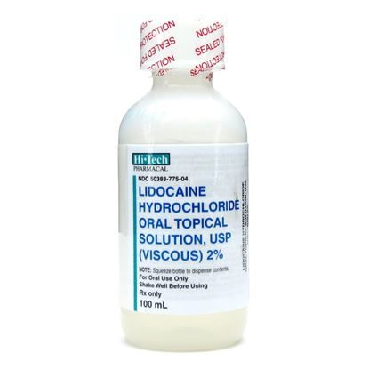Lidocaine, (Lidocaine Hydrochloride Oral Topical Solution USP), 2%, 20mg/mL, Viscous, Oral Solution, 100mL Bottle