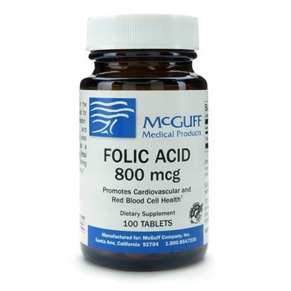 Folic Acid, 800mcg, 100 Tablets/Bottle