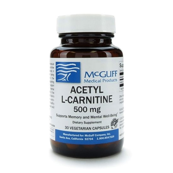 AcetylLCarnitine 500mg 30 CapsulesBottle