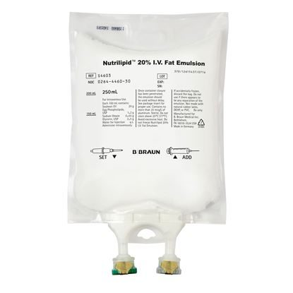 Fat Emulsion, IV, 20%, 250mL,Bags, SD, Nutrilipid,  Non-PVC/DEHP  12/Case