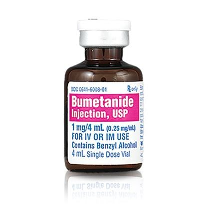 Bumetanide, 0.25mg/mL, SDV, 4mL, 10 Vials/Tray