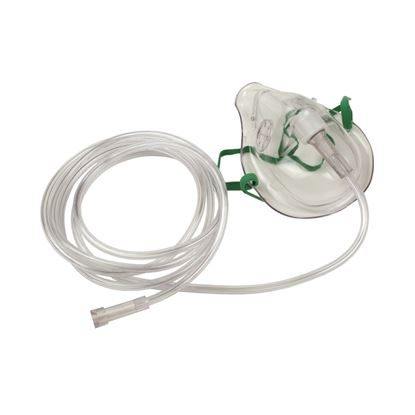 Mask, Oxygen, High Concentration, Non-Rebreather, 7' Tubing, 2 side valves, 50/Case