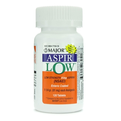 Aspirin Enteric Coated, 81mg, 120 Tablets/Bottle