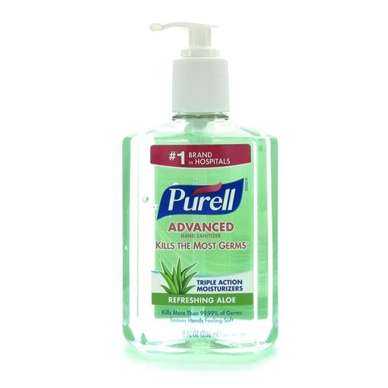 Hand Sanitizer Aloe with Pump 8 Ounce Bottle Purell Each