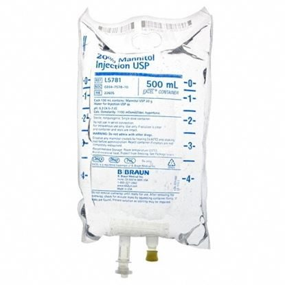 IV Solution, Mannitol, IV, 20%, 500mL, 24 Bags/Case