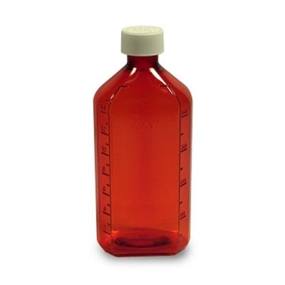 Bottle, 8 ounce Amber Oval,CRC cap Plastic, 60/Case