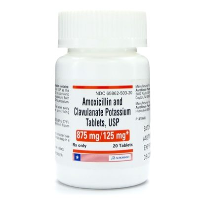 Amoxicillin/Potassium Clavulanate, 875mg/125mg, 20 Tablets/Bottle