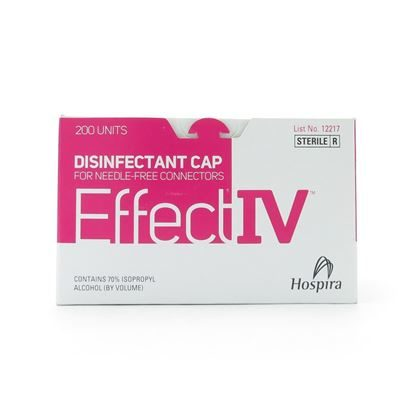 EffectIV Port Disinfecting Caps, 70% Isop. Alcohol, Up to 7 days, Pink, 200/Box