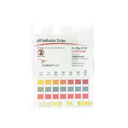 pH Indicator Strips, 4.5 to 10pH, pH Gradation of 0.5 Units, 100/Package