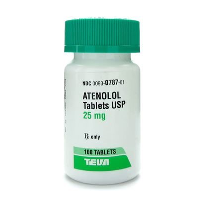 Atenolol,  25mg, 100 Tablets/Bottle
