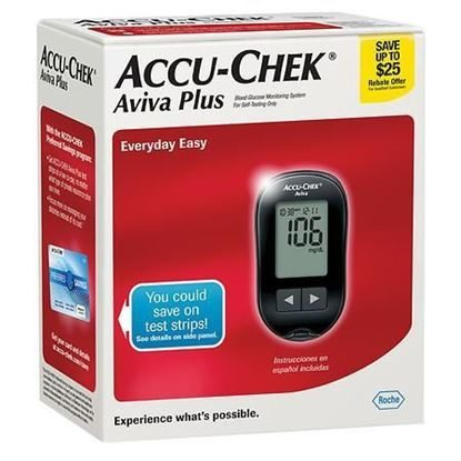 Blood Glucose Meter, ACCU-CHEK® Aviva Plus, w/Softclix device.  Each