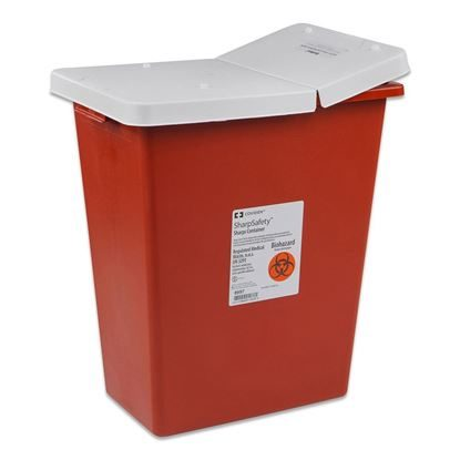 Sharps Collector, 30 Gallon, Red w/White Gasketed Hinged Lid, 3/CASE
