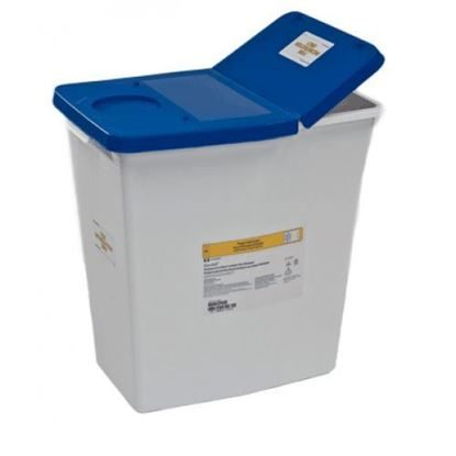 Waste Collector, Pharmaceutical, 12 Gallon, White/Blue, Gasketed w/absorbent pad, Each