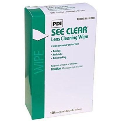 Wipes, Eyeglass Cleaning, Anti-static/Anti-fog Formula, For Use with Glass and Polycarbonate Lenses, See Clear®, 120/Box