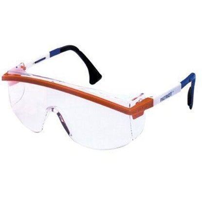 Eyewear, Protective, Patriot® Red, White, and Blue Frame, Clear Lens, Duoflex Temple Style, Uvextreme® Anti-Fog Coating,