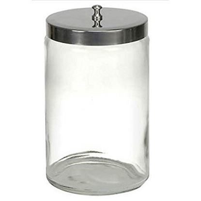 "Jar, Sundry, Glass with Stainless Steel Lid, 7"" x 4 1/4"", Without Graduations, Unlabeled, Medi-Pak™, Each"
