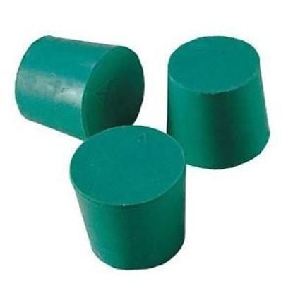 Stoppers, Neoprene, Green, Solid, 32/26mm, Size 6, VWR®, 19/Package