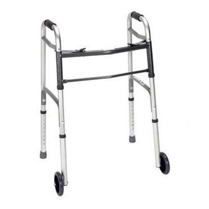 "Walker, Folding Adjustable, 2 x 5"" wheels,  22"" Width, Aluminum  300lb  Each"
