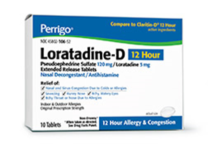 Loratadine-D  24 hour w/Pseudoephedrine,  10mg  Tablets  10/Box