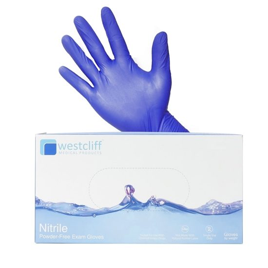 Exam Gloves Nitrile Powderfree Blue Westcliff 200Box