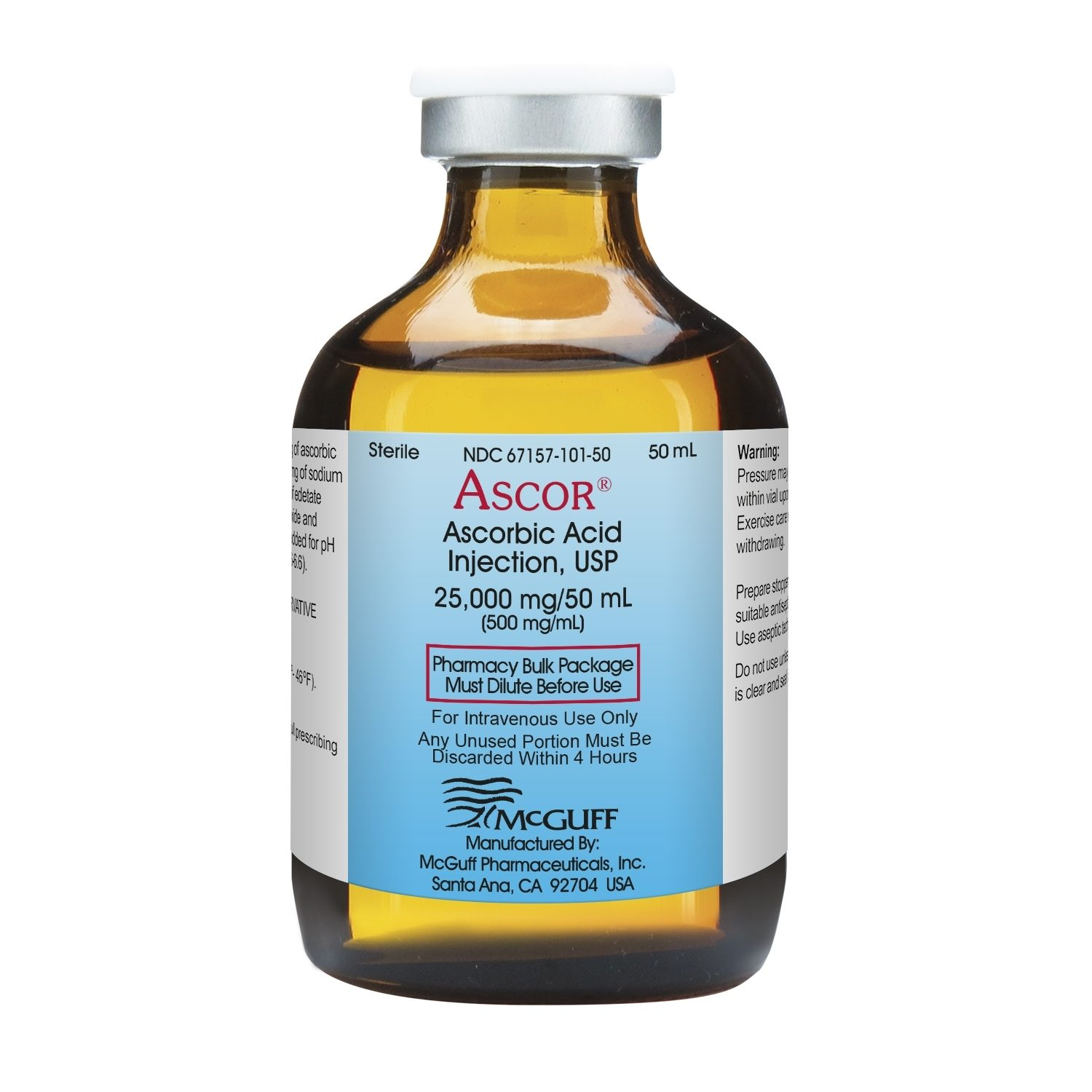 Ascor Ascorbic Acid Injection Usp 500mg Ml 50ml Vial Mcguff Medical Products