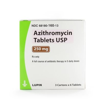 Azithromycin, 250mg Unit-Dose, 18 Tablets/Box (Packed as 3x6)