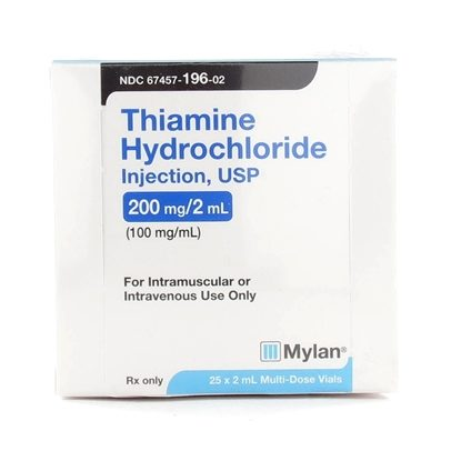 Thiamine HCl, B-1, 100mg/mL, MDV, 2mL Vial