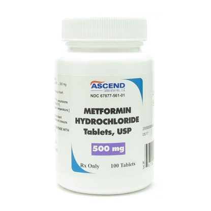Metformin, 500mg, 100 Tablets/Bottle