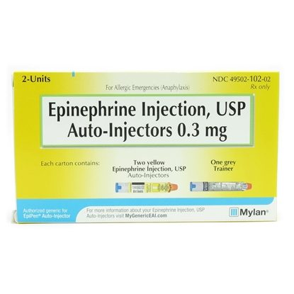Epinephrine Injection, USP,  0.3mg, 1:1000 UD, Auto-Injector, 2/Box