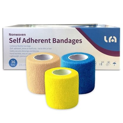 "Self-Cohesive/Adherent Bandage Wrap, Latex-Free, 2"" x 5yds/Roll"