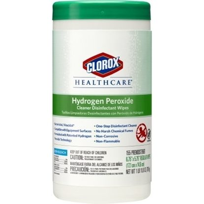 "Hydrogen Peroxide Disinfectant Wipes for Surfaces, Clorox 6.75""x5.75"", Pull ups, 155/Container"