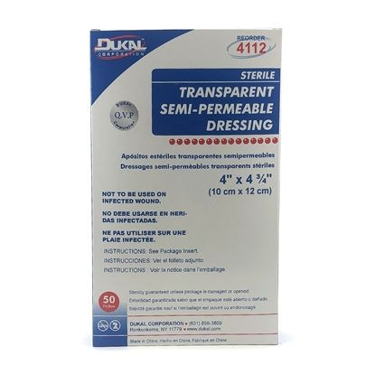 Transparent Dressings, 4'' x 4 3/4'', Sterile,  Semi-Permeable, Latex-Free, 50/Box
